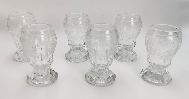 Zestaw 6 szklanic masońskich