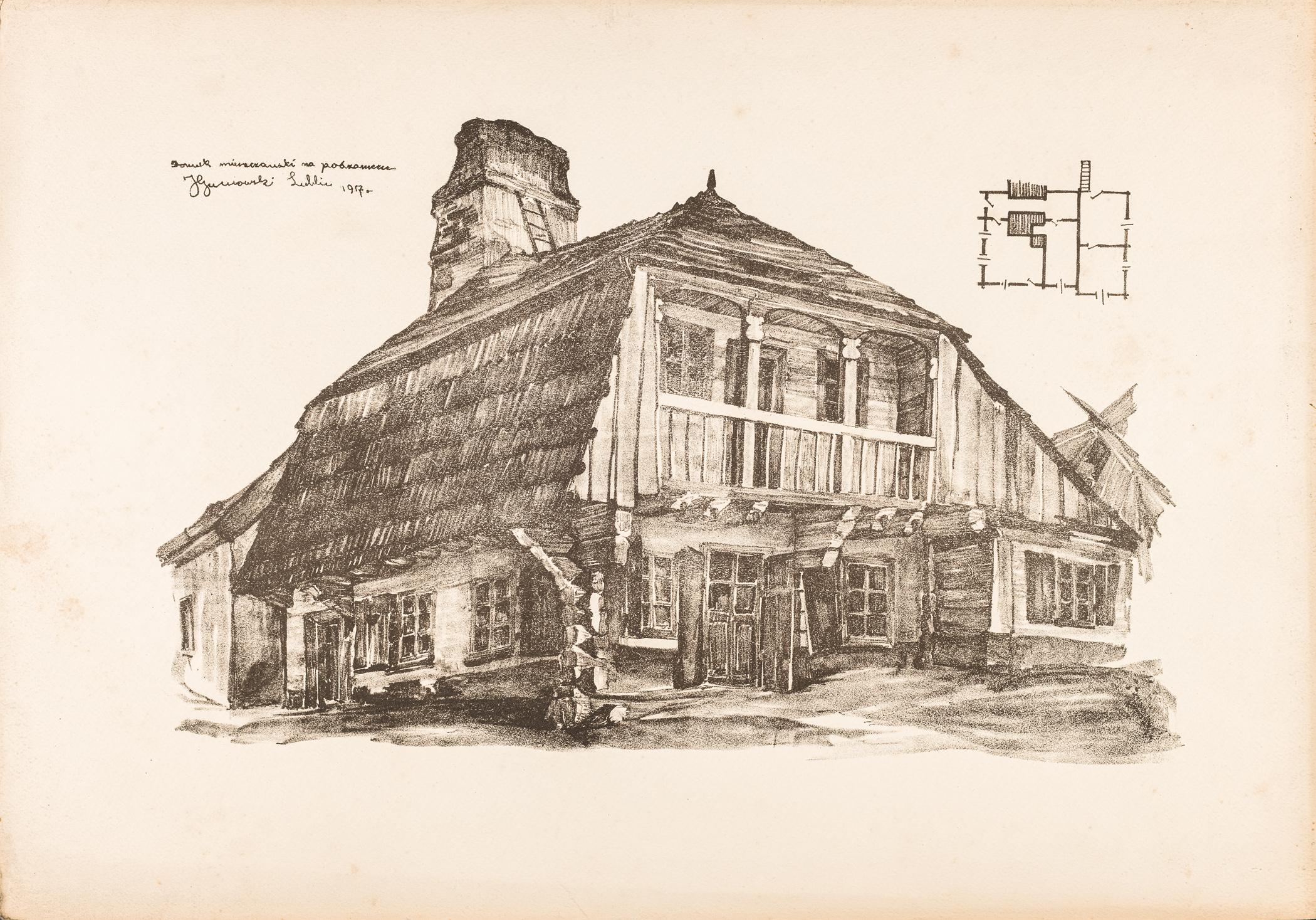 Lublin. Domek mieszczański na Podzamczu, 1917