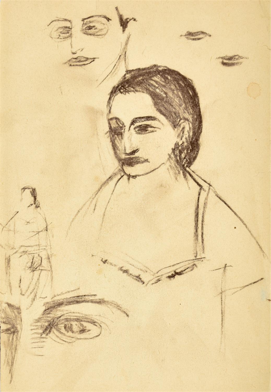 Szkic popiersia kobiety z lewego profilu, luźne szkice twarzy, ust, oczu oraz szkic zarysu postaci kobiety