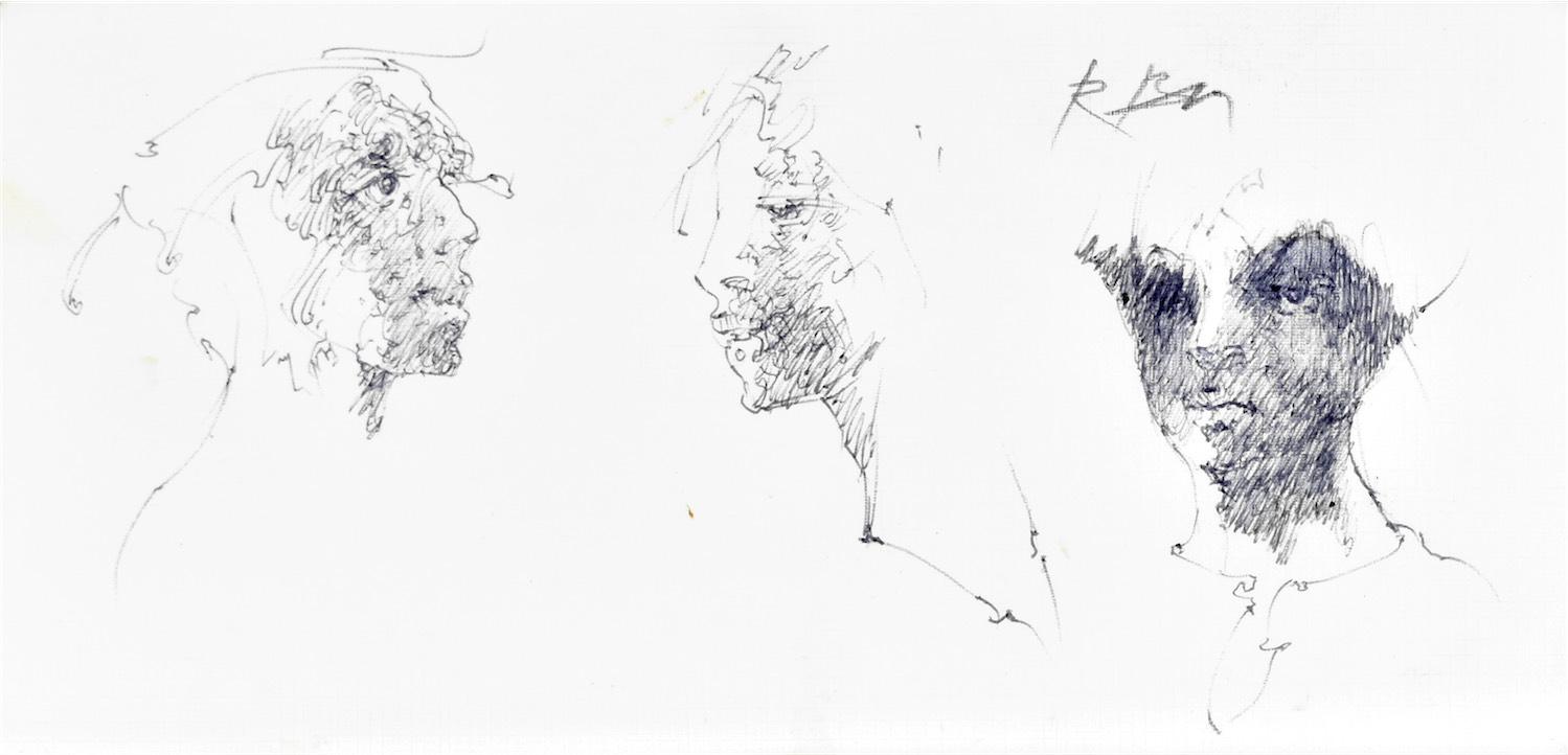 Szkice twarzy kobiety w różnych ujęciach
