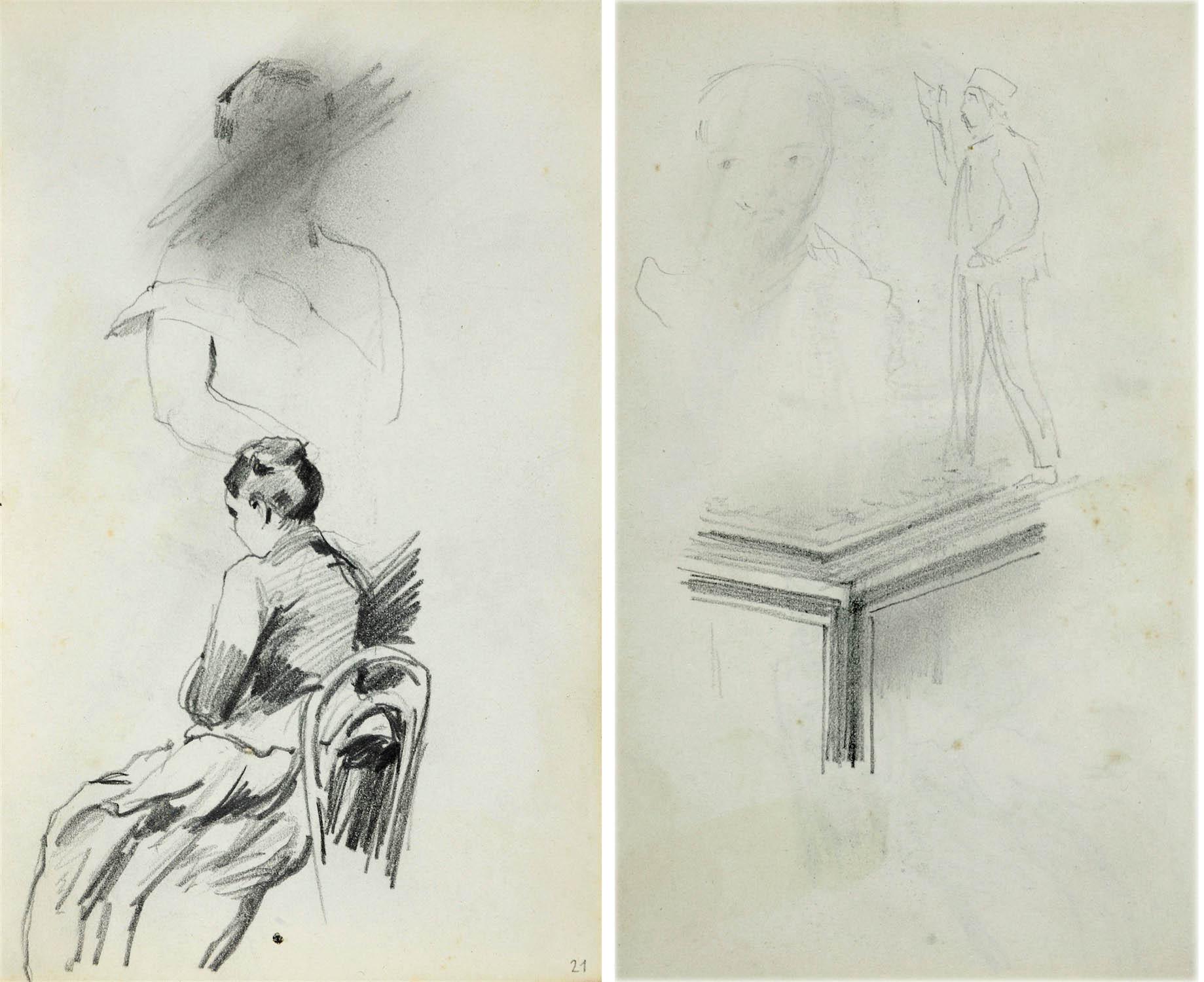 Kobieta w długiej sukni siedząca na krześle ukazana z lewego tyłu wyżej nieukończony, zakreślony przez artystę szkic popiersia kobiety