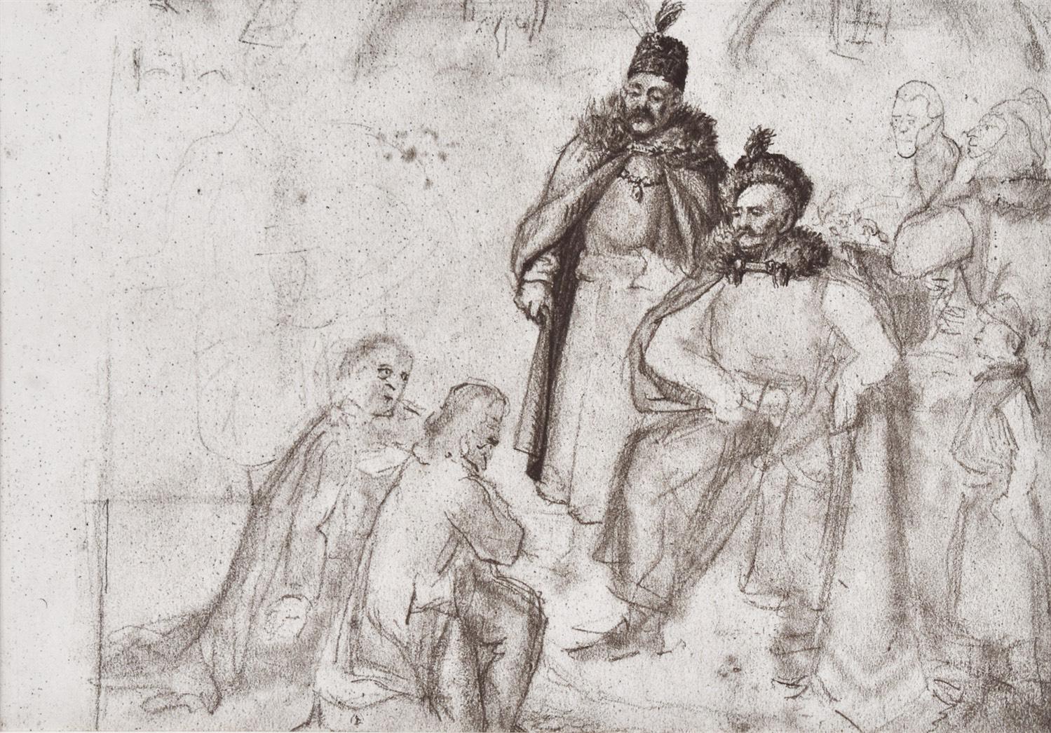Król Sobieski, szkic ołówkiem