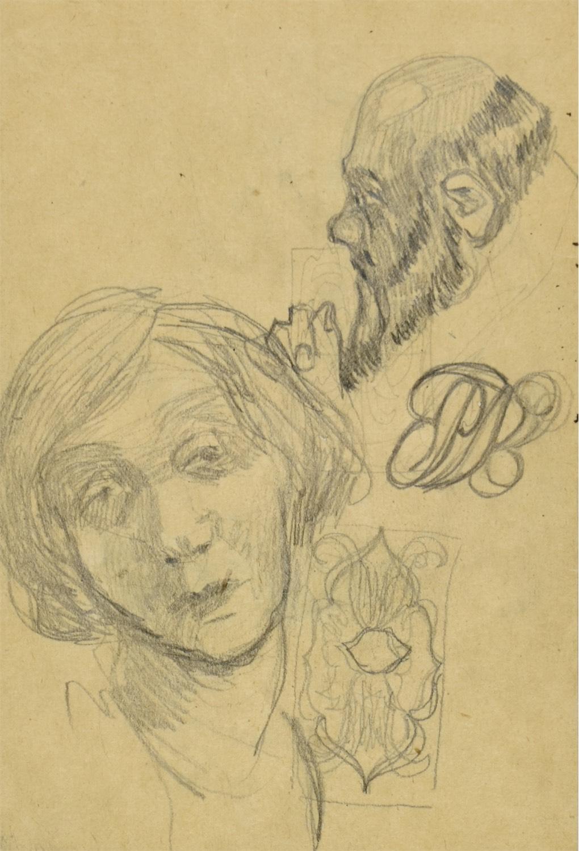 Szkice różne: studium portretowe kobiety, profil zakonnika, winieta, monogram wiązany SK
