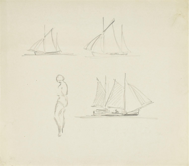 Szkice łodzi oraz kobiety w stroju kąpielowym