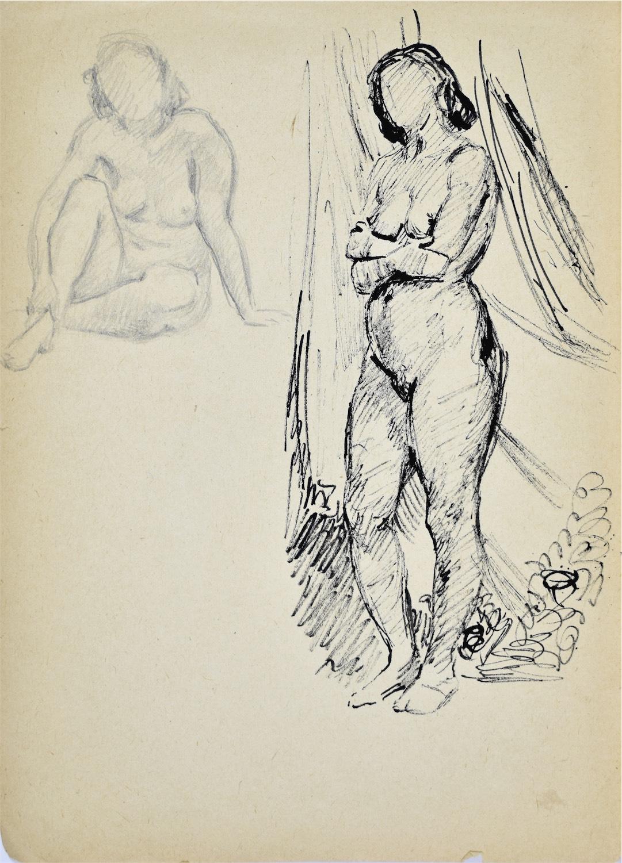 Studia aktu kobiety w dwóch pozach: siedzący akt kobiety i stojący akt kobiety