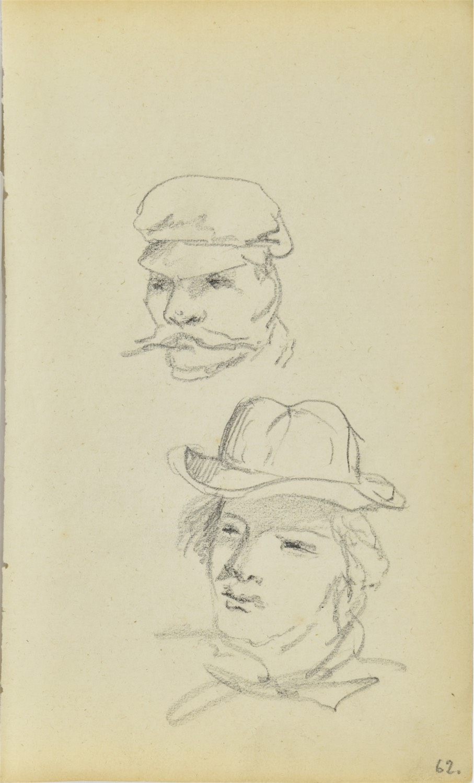 Szkice głów mężczyzn – młodego w kapeluszu i dojrzałego z wąsami w czapce