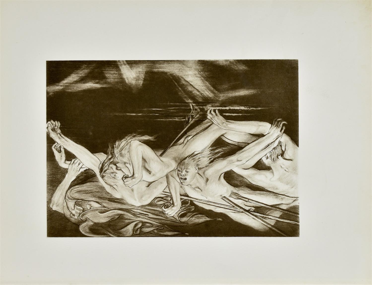 Hermes wiedzie duchy bohaterów do głębi Hadesu (Iljada)