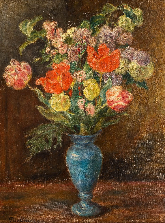 Bukiet kwiatów w niebieskim wazonieWilk, lata 80. XIX w.