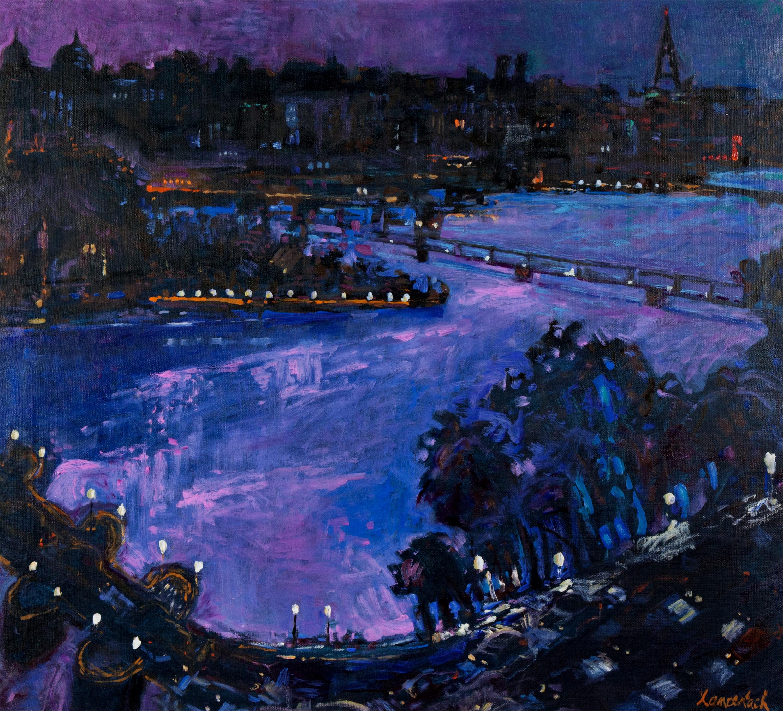 Pejzaż nocny z Paryża - Pont Neuf i Pont Des Arts, 1996