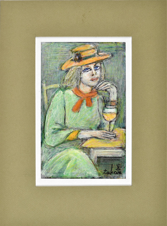 Portret kobiety w kapeluszu siedzącej na krześle