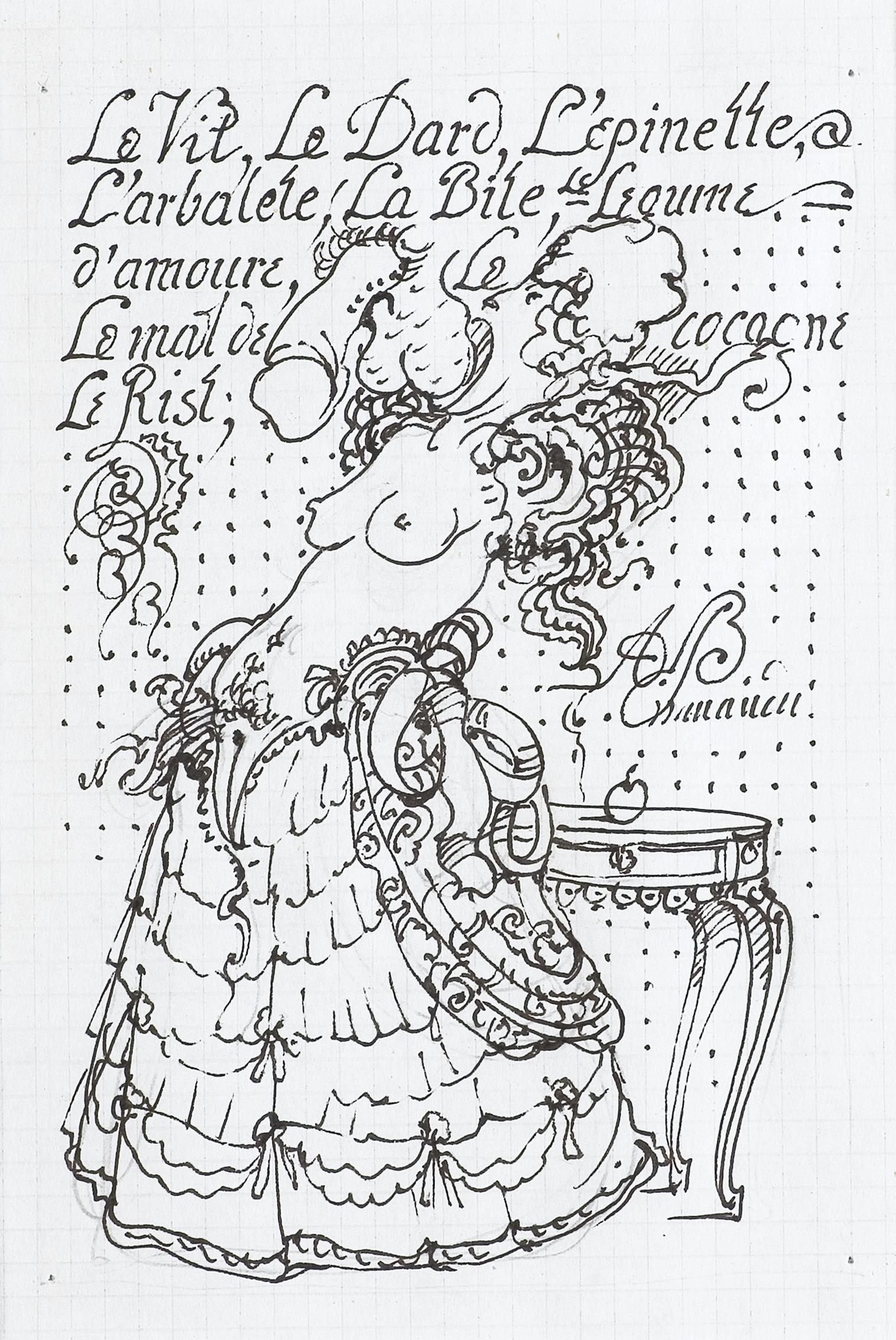"""Projekt ilustracji do """"Niebezpiecznych, związków"""" Pierre'a Choderlosa de Laclosa, (wyd. Test, Lublin 1996)"""