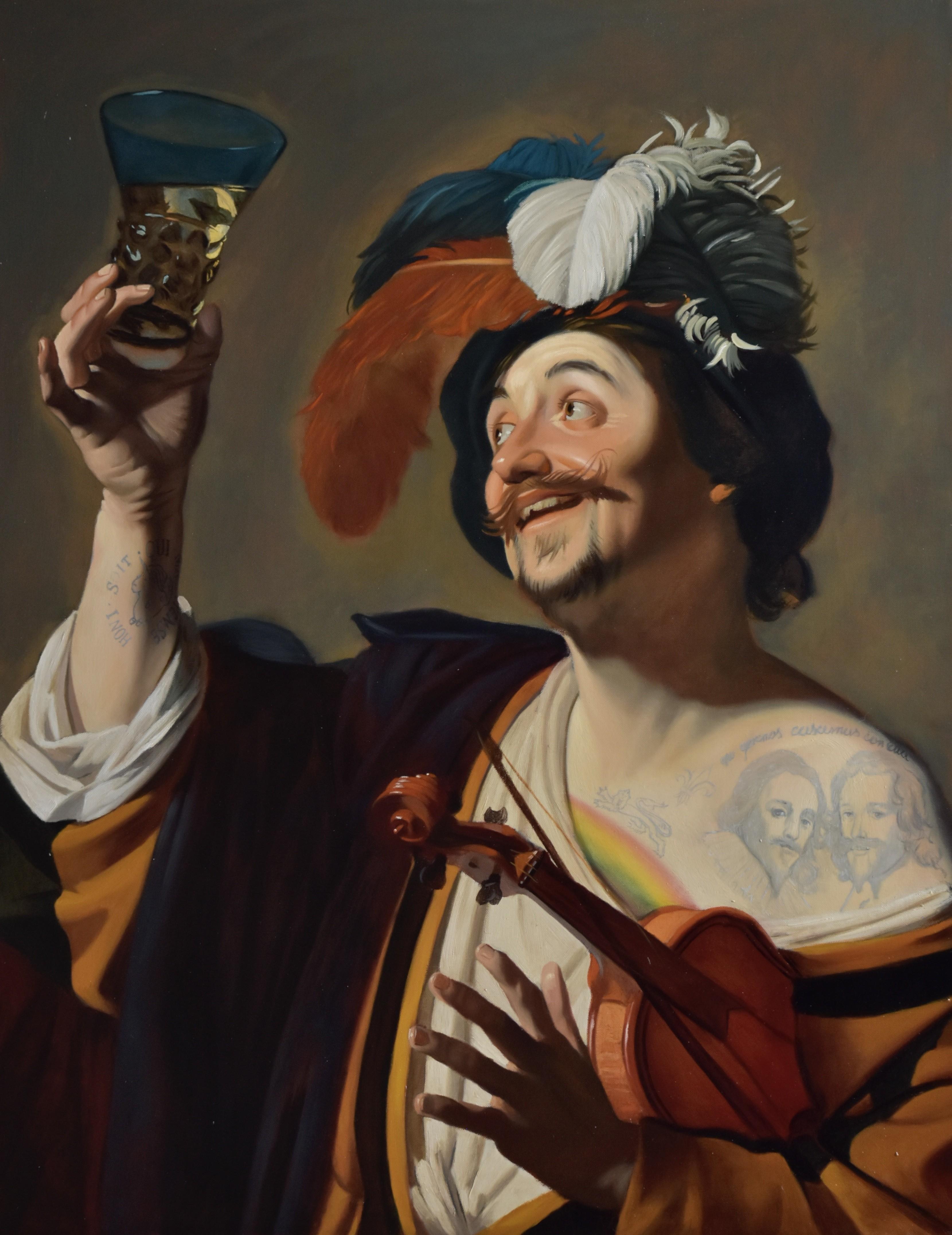 Szczęśliwy skrzypek ze szklanką wina, 2020