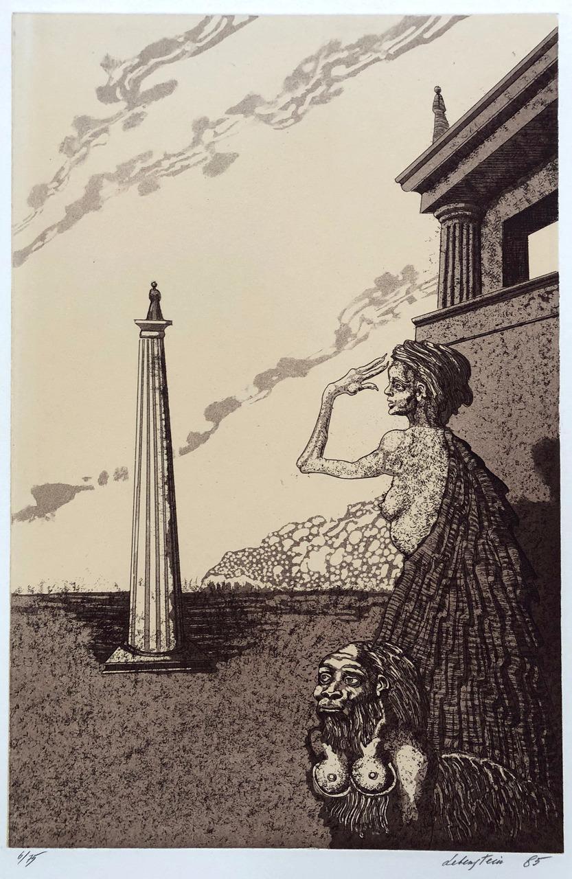 Kobieta, Sfinks i obelisk, 1985 r.
