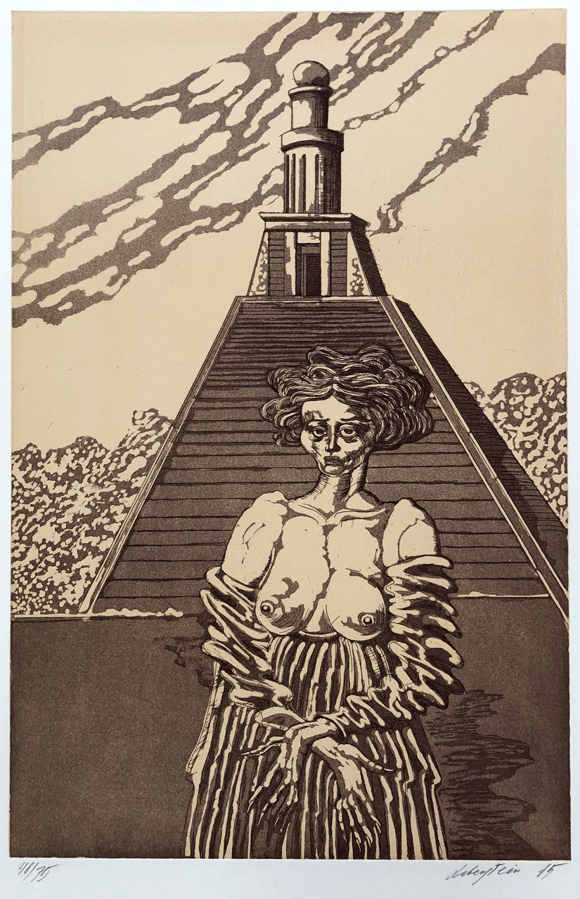 Kobieta na tle wieży, 1985 r.