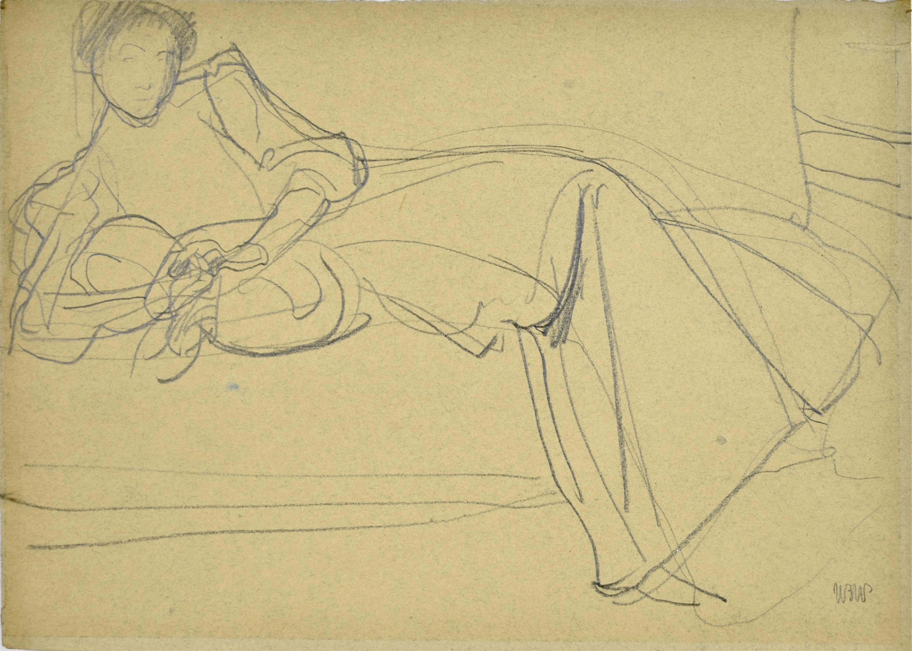 Renia leżąca na szezlongu, ok. 1907