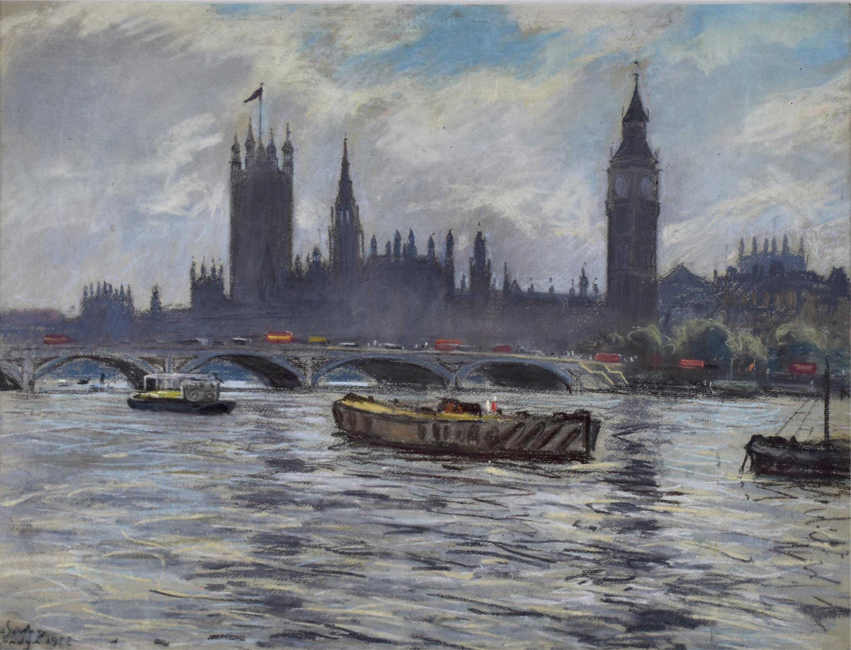 Widok na budynki Parlamentu w Londynie, 1956