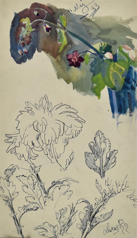 Studia gałązki z polnymi kwiatami, chryzantemy, V, XI 1899