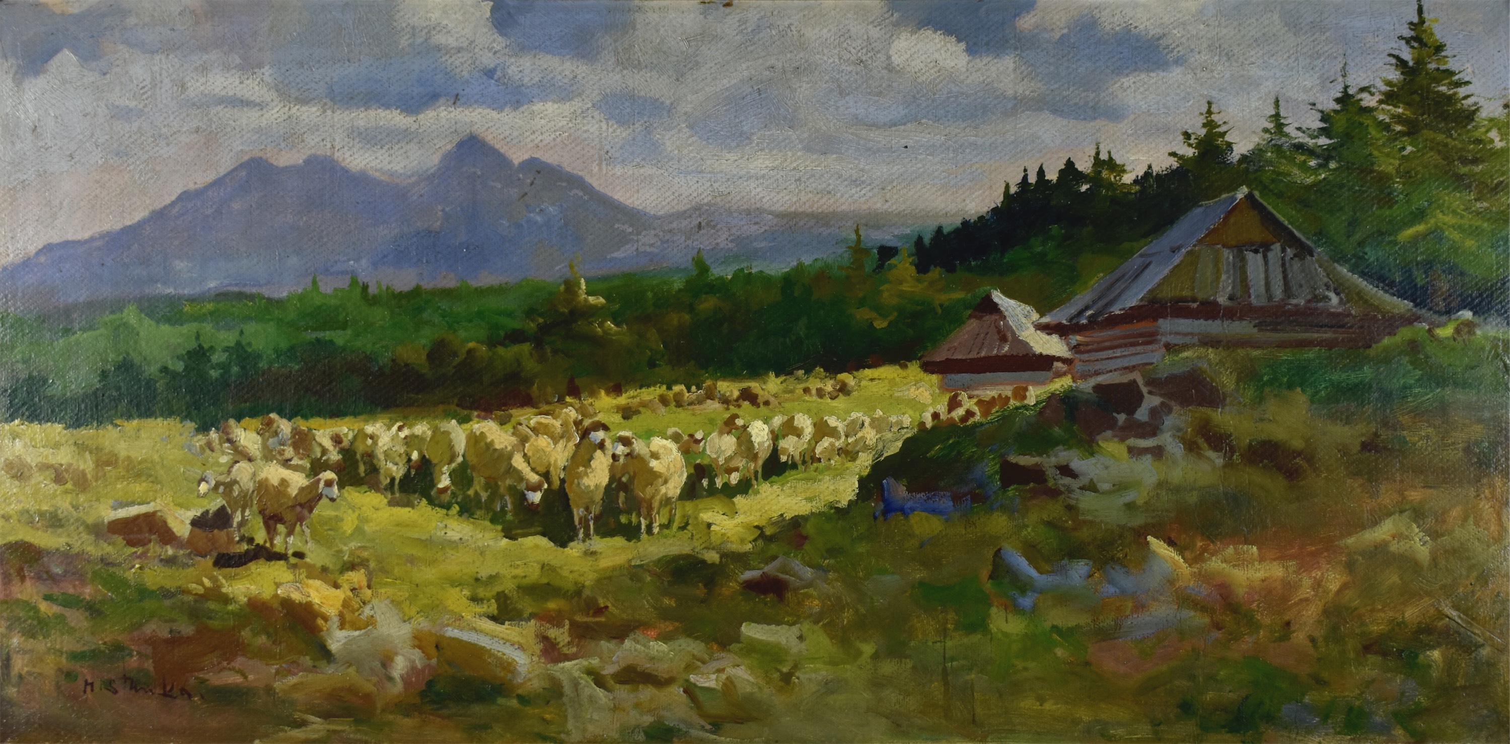 Pejzaż górski z owcami
