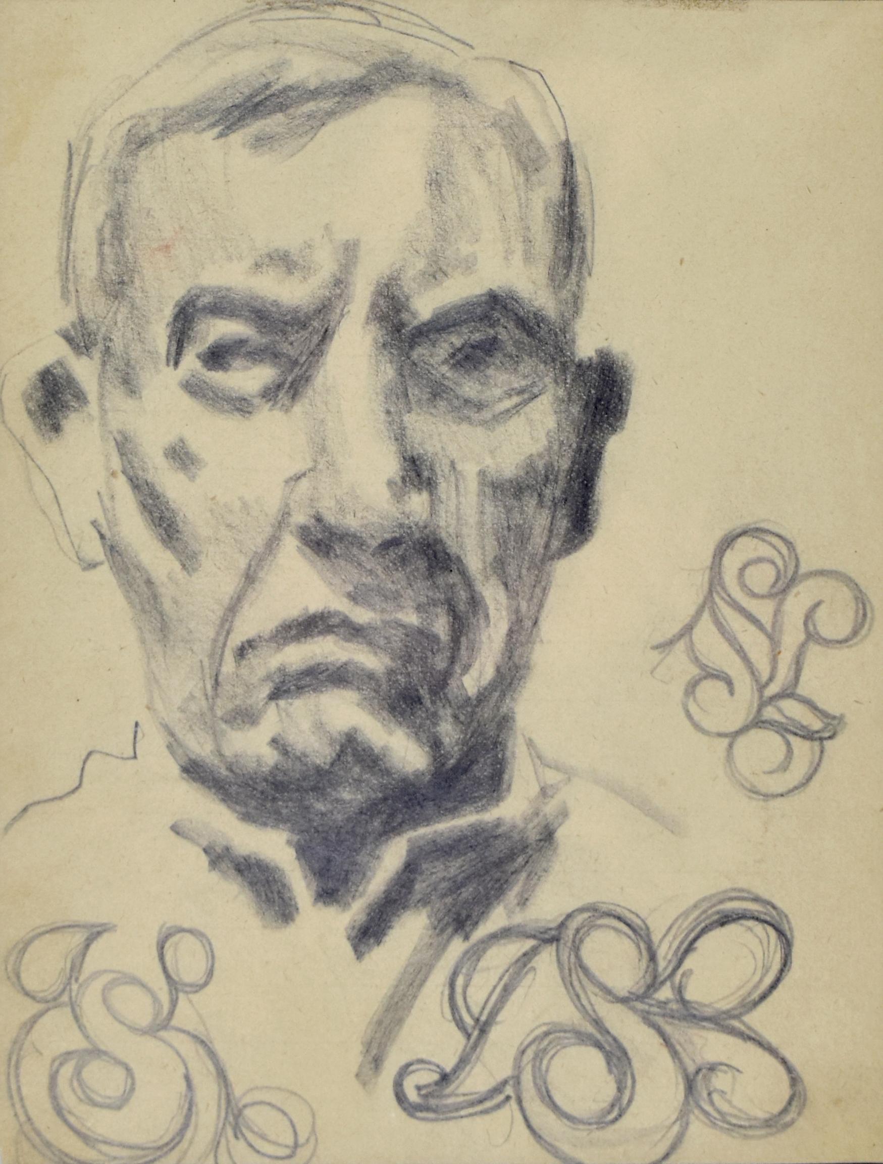 Autoportret ze szkicami monogramu SK