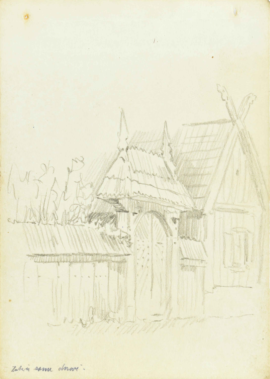 Szkic fragmentu ogrodzenia wraz z bramą wejściową