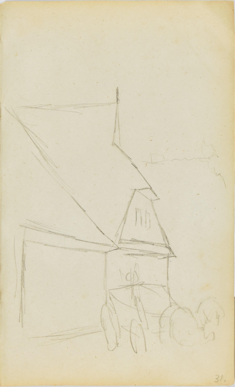 Szkic budynku ze stojącym przed nim wozem z zaprzężonym koniem