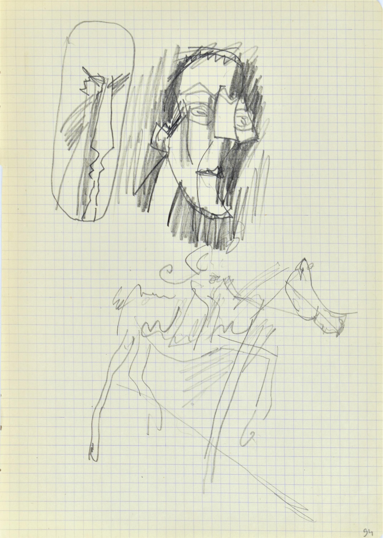 Szkice męskich głów, Don Kichot na koniu, po 29.01.1970