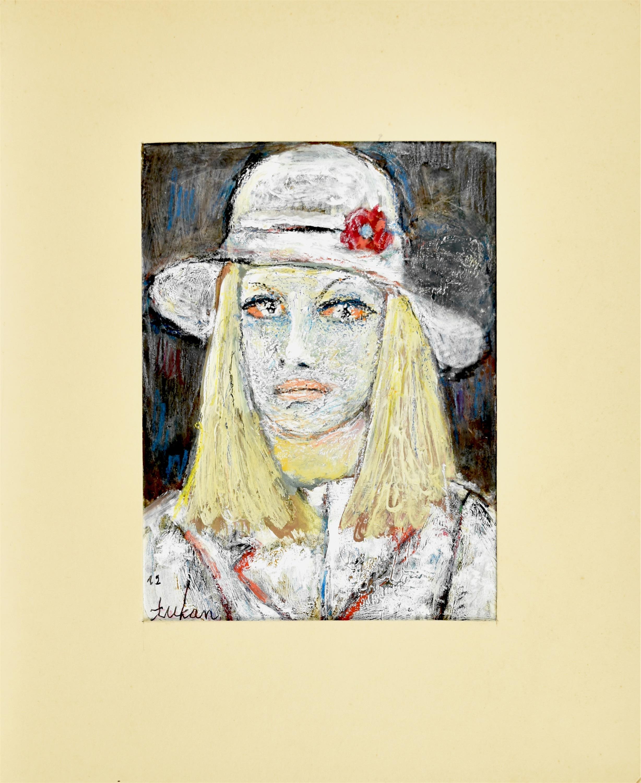 Popiersie kobiety w kapeluszu