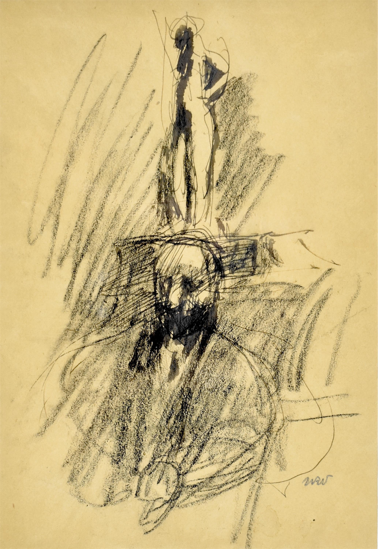 Portret mężczyzny z rzeźbą w tle