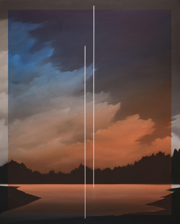 Blue and orange gradient glass, 2020