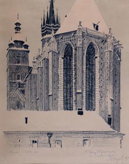 Widok od wschodu na Kościół Mariacki w Krakowie