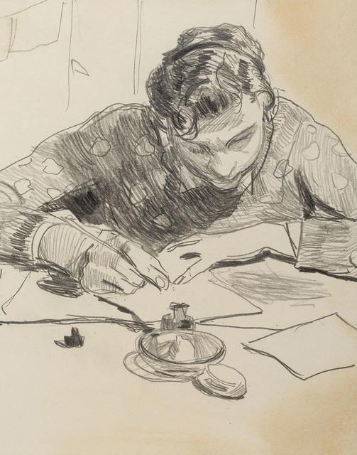 Młody mężczyzna piszący list, ok. 1925