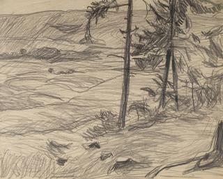 Pejzaż podgórski z samotnymi świerkami, ok .1908