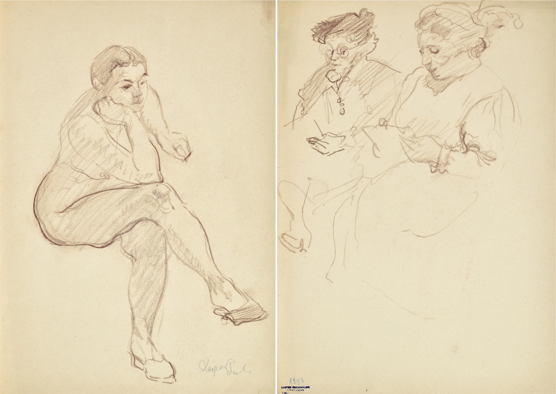 Akt siedzącej kobiety wspierającej ręką głowę z założonymi nogami, 1953