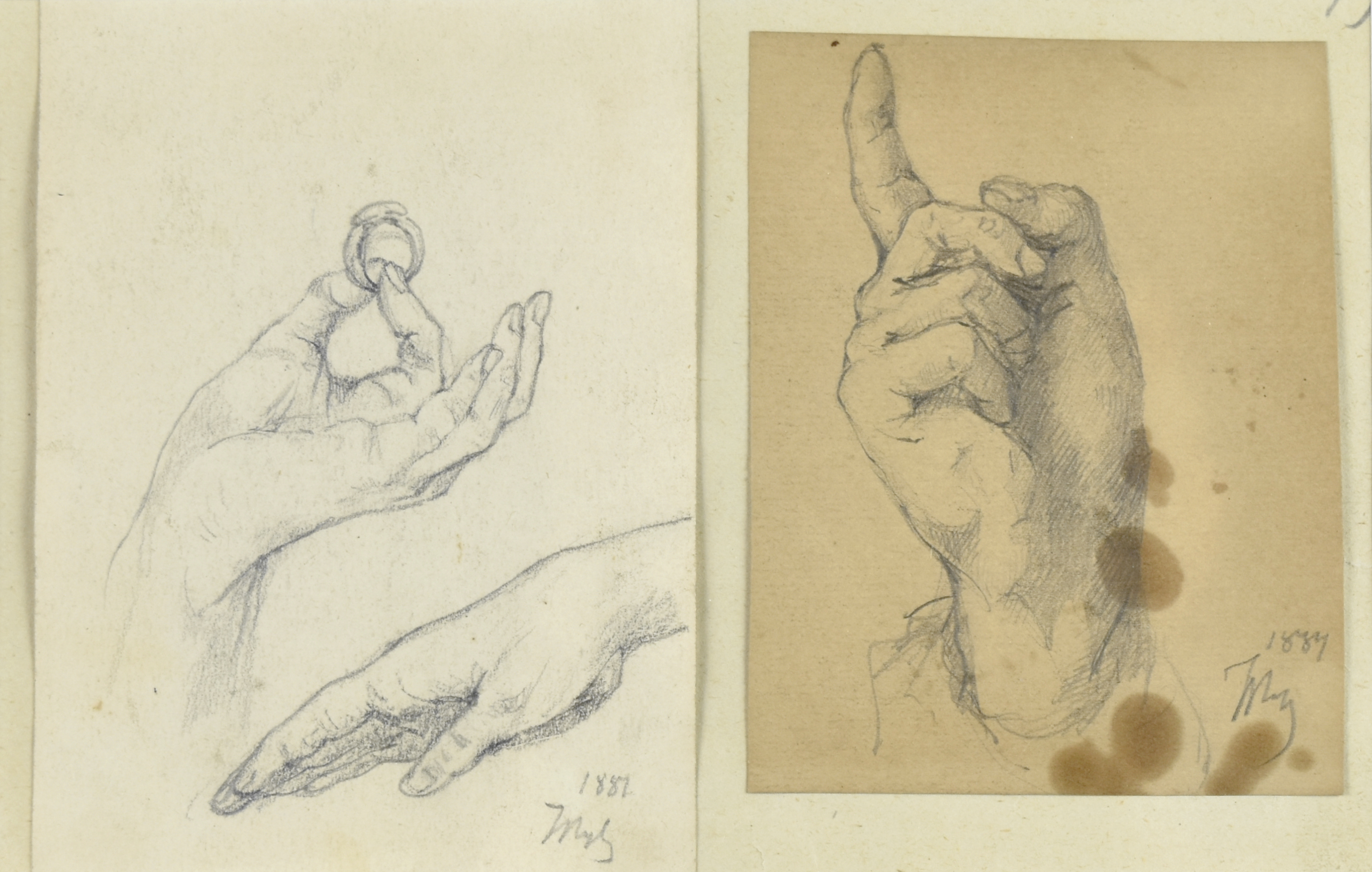Zestaw dwóch prac ujęte w jedną oprawę – studia dłoni, 1887