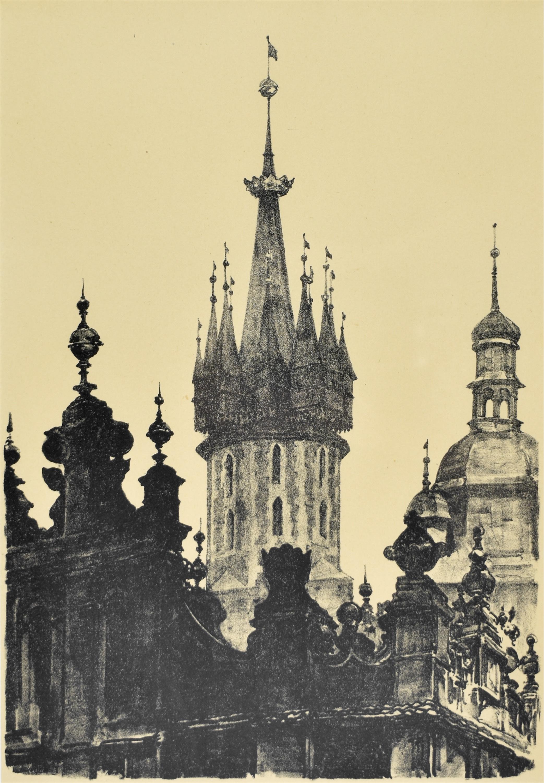 Szczyty Sukiennic i wieże kościoła Mariackiego, 1926