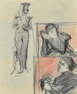 Stojący ułan i szkice popiersia kobiety, 1894 (?)