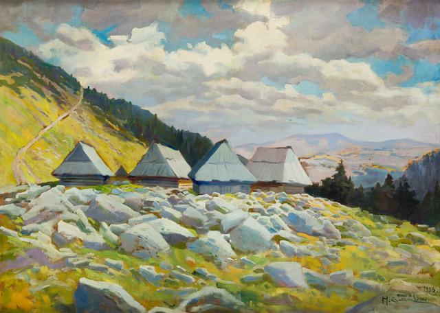 Pejzaż górski (Widok na szałasy na Hali Gąsienicowej), 1936