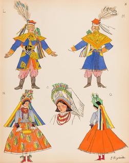 Pan młody i panna młoda z regionu krakowskiego, plansza VIII z teki 'Polish Peasants' Costumes', 1939