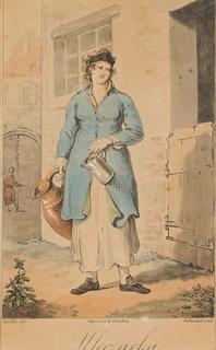 """""""Mleczarka"""" wg Jana Piotra Norblina (""""Zbiór rozmaitych stroiów polskich""""), 1817"""