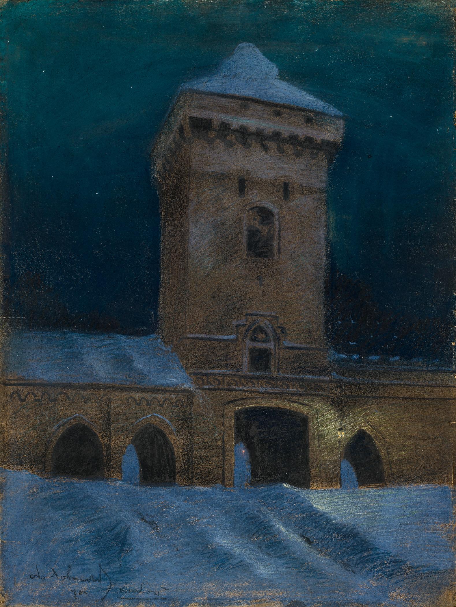 Brama floriańska w nocy [nokturn krakowski]