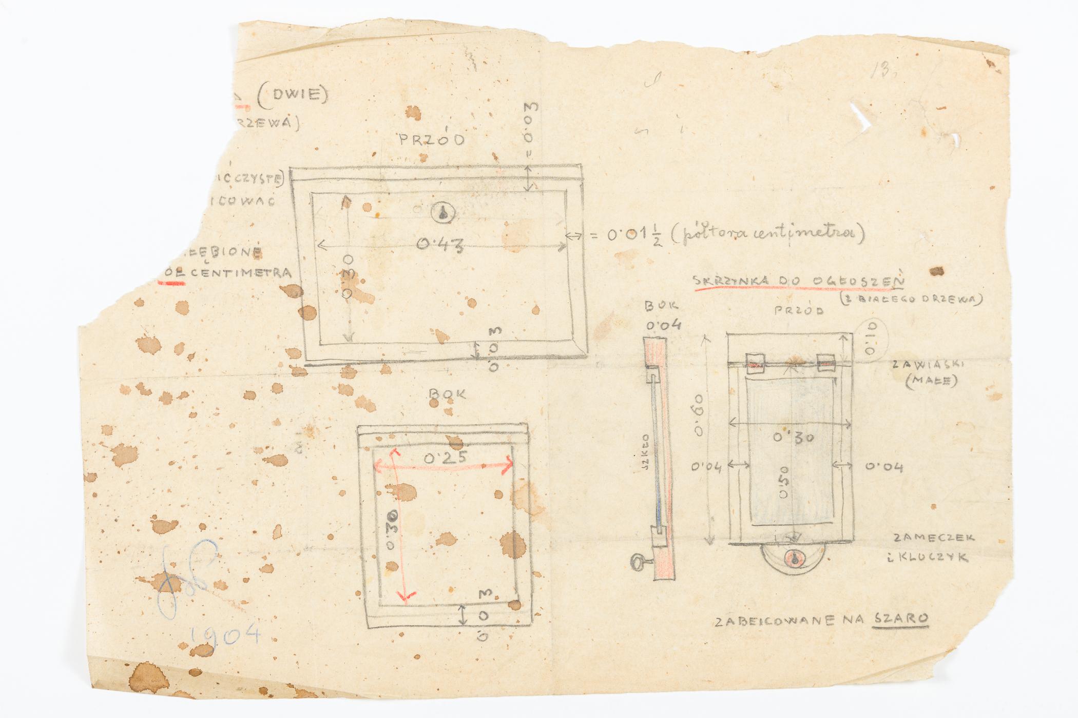 Projekt skrzynki ogłoszeniowej do krakowskiego Domu Towarzystwa Lekarskiego, 1904