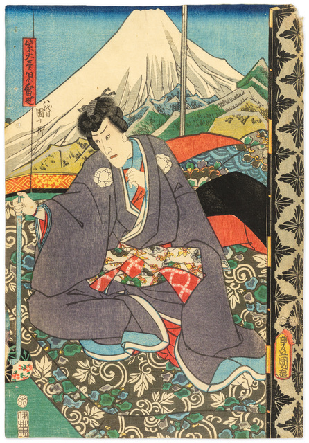 Aktor teatru kabuki na tle góry Fuji, 1852
