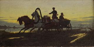 Zaprzęg na drodze o zmierzchu, 1882