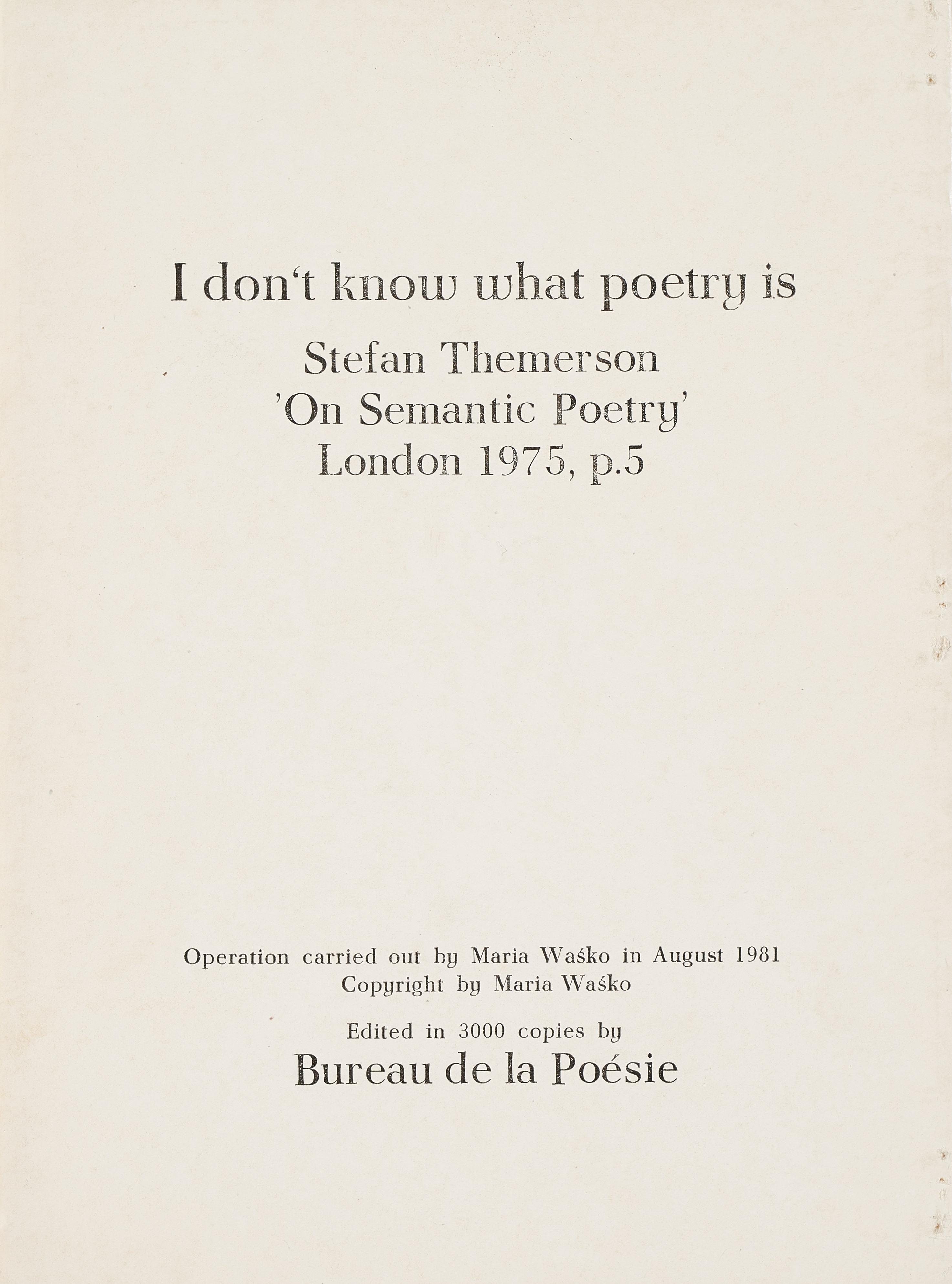 Stefan Themerson On Semantic Poetry, 1981 r.