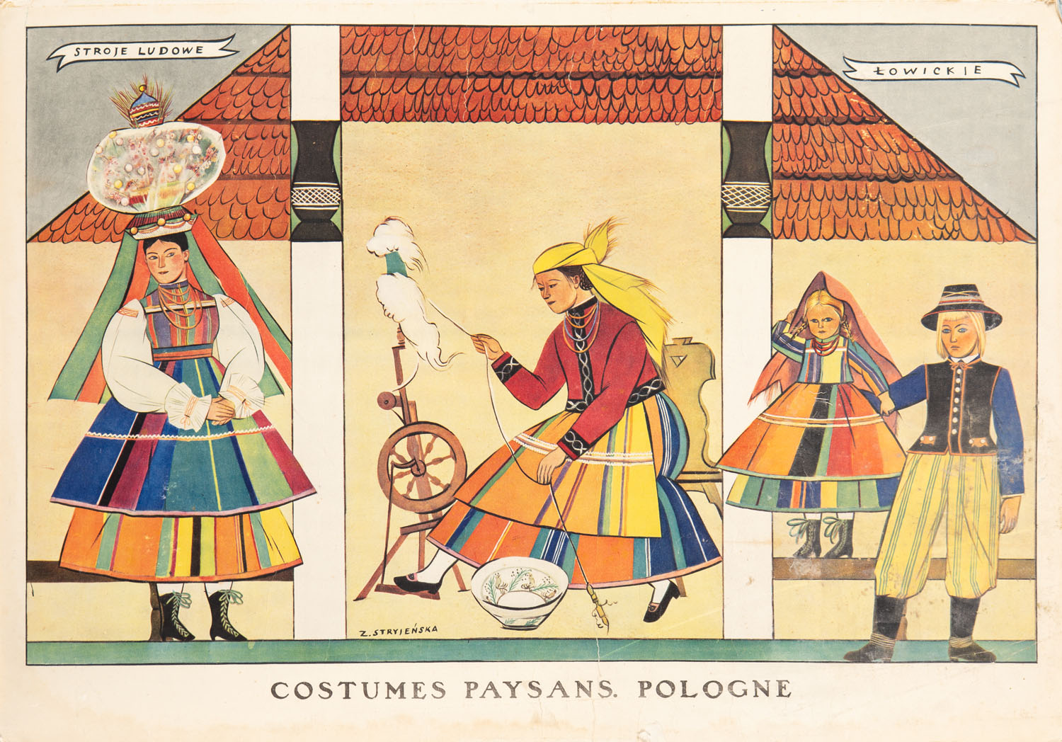 """""""Stroje ludowe łowickie"""" (Costumes paysans. Pologne), 1933"""
