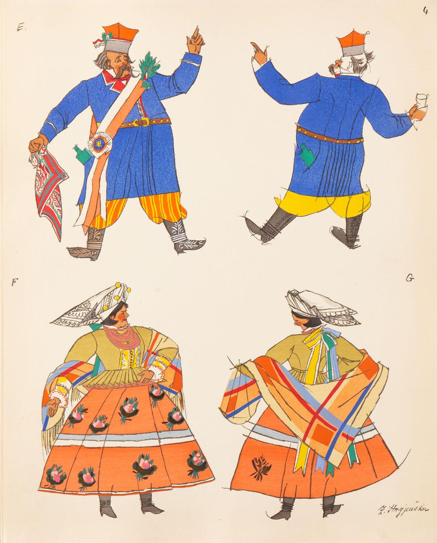 Starosta weselny z krakowskiego i Krakowianka w koronkowym czepcu, plansza IV z teki 'Polish Peasants' Costumes', 1939