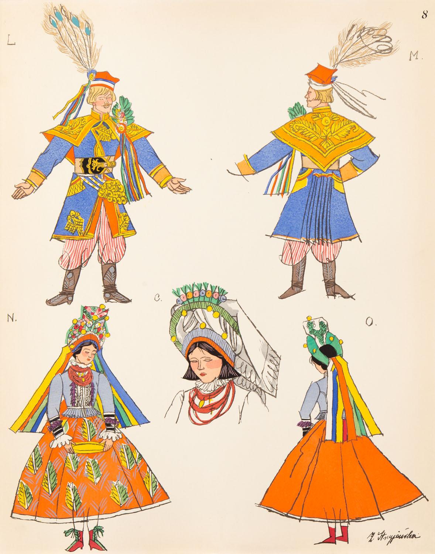 Krakowianin i Krakowianka – stroje weselne, plansza VIII z teki 'Polish Peasants' Costumes', 1939