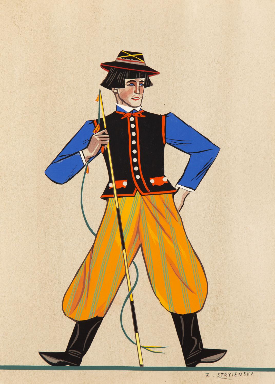 Strój młodego chłopa z Łowickiego, plansza IX z teki 'Polish Peasants' Costumes', 1939