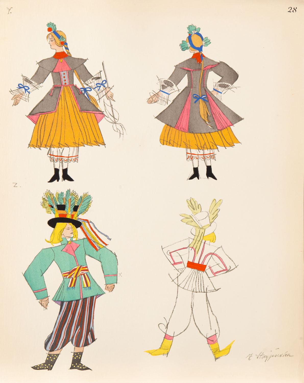 Stroje ludowe z Kujawskiego, plansza XXVIII z teki 'Polish Peasants' Costumes', 1939