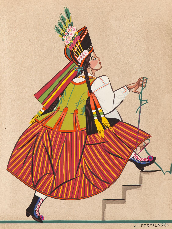 Chłopka z Kurpi, plansza XXXI z teki 'Polish Peasants' Costumes', 1939